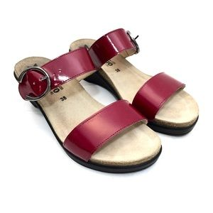 Mephisto Red Patent Leather Wedge Sandals
